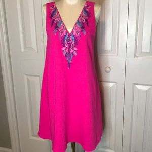 Lily Pulitzer beautiful hot pink embroidered dress